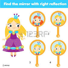 Children educational game Kids activity Matching pairs Find the correct reflection of beautiful
