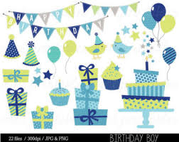 Boy Birthday Clipart Blue Birthday Digital Clip Art Bunting Clipart Birthday Party