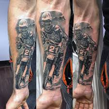 Awesome Racer In Sports Bike Tattoo On Ribs