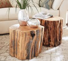 reclaimed wood stump table pottery barn