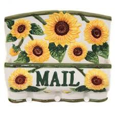 Sunflower Collection Wall Hanging Mailbox Key Holder Home Kitchen