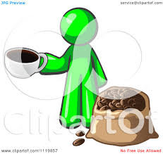 Cartoon Of A Lime Green Man With Cup Coffee Over Bag Beans