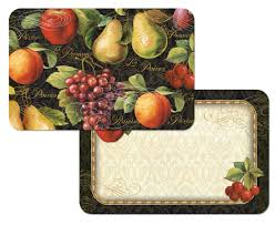 4 Gourmet Fruit GrapeApplePear On Black Placemats