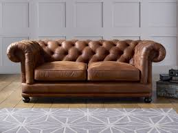 english art deco cognac leather chesterfield two seater sofa photo
