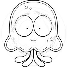 Cartoon Jellyfish Smiling Black and White Line Art