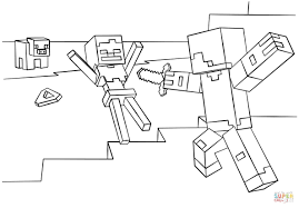 Minecraft Steve Coloring Pages Home 16 Diamond Armor