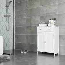 vasagle badezimmerschrank badschrank mit schublade und verstellbarem einlegeboden küchenschrank im landhausstil aufbewahrungsschrank aus holz