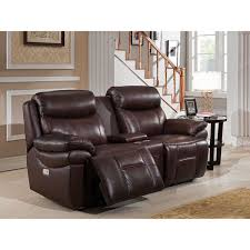 Sanford Leather Power Loveseat Recliner with Power Headrests & USB