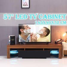57 WhiteBlackWood TV Unit Cabinet Stand LED Light High Gloss Table Living Room Meuble TV Bedroom Furniture Desk US