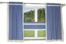 details zu hossner gardine seitenschal scheibengardine landhaus blau weiß kariert spitze