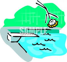 Stick Figure Falling Off A Diving Board Into Pool