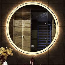 led beleuchtet badezimmer spiegel runde wohnzimmer wand hd wasserdicht silber smart led touch schalter weiß warmes licht 50 cm 60 cm 70cm 80 cm