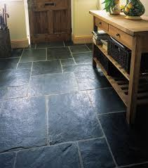 solid blue black slate floor tiles with a riven finish to create