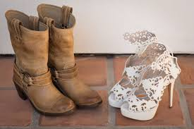 White Laser Cut Style Wedding Shoes And Tan Cowboy Boots