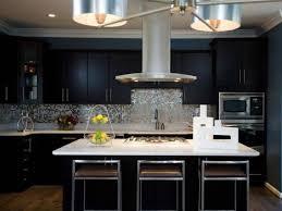 Contemporary Kitchens Dark Cabinets And Walls Mozaic Blacksplash Range Silver Hood White Ceramic Countertop