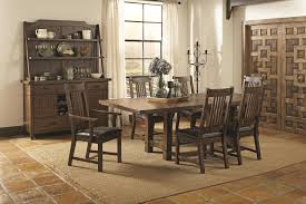 Coaster Padima Rustic Rough Sawn Dining Table With Extension Leaf And Dark Metal Bracket Hardware