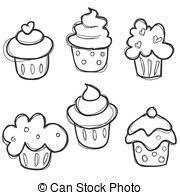 hand drawn cupcake set illustration