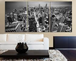 LARGE Wall Art Canvas Print Black And White Chicago Skyline