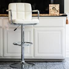 VF1581011-Adjustable Height Swivel Bar Stool With Armrest And Footrest  (White)