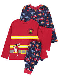 2 Pack Fire Engine Print Pyjamas | Kids | George