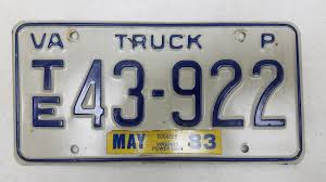 100 Truck License 1983 Virginia Plate TE43922