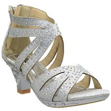 girls rhinestone caged high heel dress sandals silver pageants
