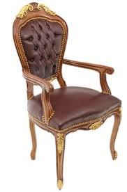 casa padrino barock luxus echtleder esszimmerstuhl mit armlehnen braun mahagoni antik stil möbel