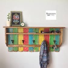Entryway Wood Shelf Rustic Rainbow Coat Rack Reclaimed Shelves Cast Iron