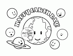 Download Coloring Pages Earth Cute Planets Happy Day Page For Kids