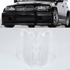 2x Sport Car Headlight Lenses Glass Cover 4D Clear For BMW E46 3