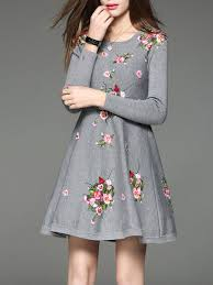 Gray Floral Embroidered A Line Vintage Sweater Dress