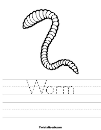 Worm Worksheet Coloring For A Lap Book And Handwriting Practice