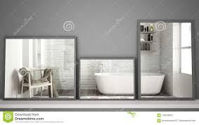 drei moderne spiegel auf dem regal oder schreibtisch die