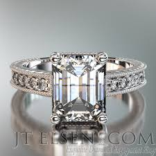 Hand Engraved Antique Style Emerald Cut Pave Prong Set Diamond Engagement Ring Enlarge