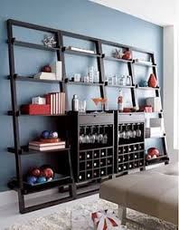 sloane espresso leaning wine bar with 2 25 5 bookcases in dining