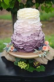 Ruffled Ombre Lilac And Lavender Wedding Cake