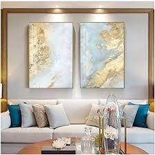 hyfbh leinwand malerei nodic weiß hellblau abstrakte wandkunst bilder für wohnzimmer big gold poster und druck 60x80cm 23 6 x31 5 x2 mit rahmen