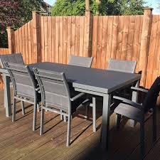 garden table set beatrice grey 6 person aluminium glass