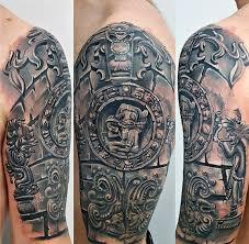 Guys 3d Half Sleeve Mayan Calender Tattoo Deisgns