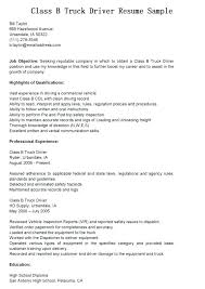 Sample Resume For Truck Driver