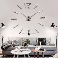 Big Large Frameless Wall Clock Kit 3D Mirror Decoration Silver