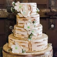 Rustic Hand Painted Birch Bark Wedding Cake