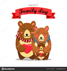 Cute Family Daddy Hugs Mommy And Their Bears Clipart
