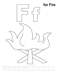 F For Fire Coloring Page With Handwriting Practice Preschool Letter