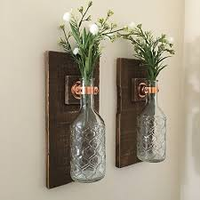 Wall Sconce SET OF TWO Hanging Flower Vases Rustic Decor