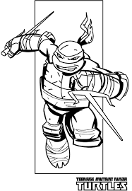 Paper Coloring Pages Ninja Turtles Raphael Action