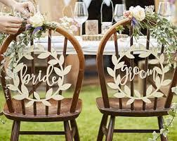 Wooden Bride Groom Chair Signs Wedding Decor Table Boho