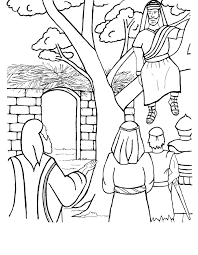 Free Background Coloring Jesus And Zacchaeus Page In