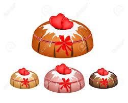 illustration satz bundt kuchen oder traditionellen großen runden kuchen mit loch innen spiegel glasur beschichtung und zwei herz