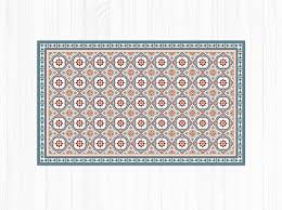 Vinyl Floor Mat With Spanish Blue Tiles Pattern Linoleum Area Rug PVC